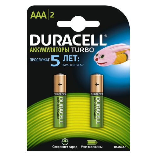 AAA Аккумулятор DURACELL Rechargeable HR03-2BL, 2 шт. 900мAч